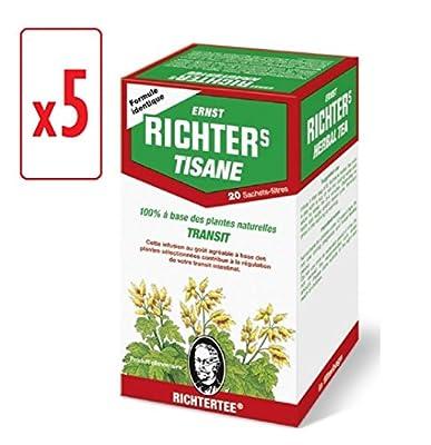 [Top minceur !] Lot de 5 boîtes de Tisane infusion Ernst Richter 40g - 100% à base de plantes naturelles / Régulation du transit / Spécial Minceur / 5 x 20 sachets filtres de 2g