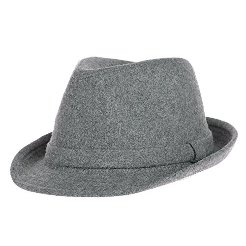 WITHMOONS Fedora Hut Bogarthut Mafiahut Wool Felt Fedora Hat Simple Classic Monochrome Band SL6449 (Grey)