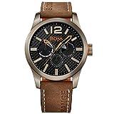 Boss Naranja para hombre-reloj analógico de cuarzo cuero Paris Multieye 1513240