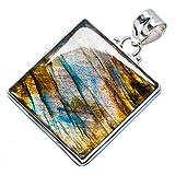 Labradorite, Labradorite 925 Argento Sterling Ciondolo 1 3/4'