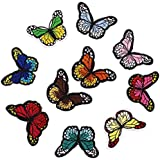 Gosear 20 piezas Parches Bordados Colorida Mariposa, Parches para ropa de termoadhesivos