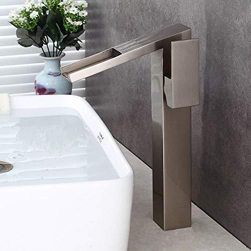 Innovation Lxy Zeitgenössisch Gebürstetes Nickel groß Wasserfall Becken Sinken Rührgerät Mono Zapfhahn zum Bad Bad Quadrat Zähler Oben Tippen Sie auf Einhandgriff Single Messing Wasserhahn