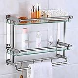 Favyt Armaturen Badezimmer Doppelglas Badezimmer Handtuchhalter mit Edelstahl Handtuchhalter Zwei Schichten [Diamond] Doppelverglasung 50cm