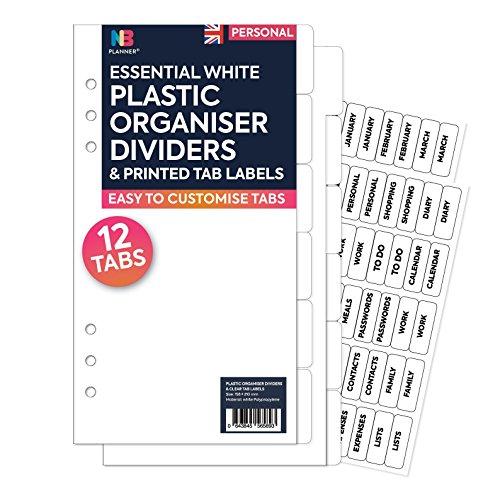 NBplanner®, 12 transparente Trennblätter aus Kunststoff und durchsichtige Etiketten, passend für englische Planer Personal
