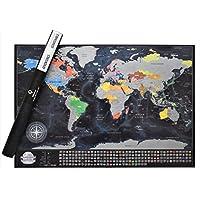 Detallada scratchable viajes Mapa con 196País banderas, 732ciudades, 76profundidades, 13picos más altos, colores vibrantes, Gran scratchable mapa del mundo regalo para cualquier Traveller. Diamond Edition
