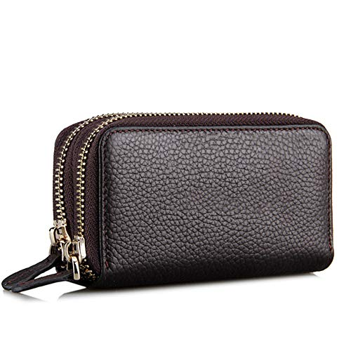 Wallet, Doppel-Reißverschluss-Kartenmappe Große Kapazität Handtasche Wallet Brown 13.5Cm * 7Cm * 4.5Cm ()