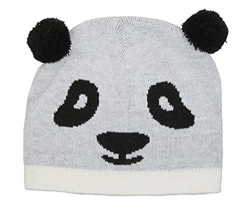 Childs White Black Pom Pom Panda Ski Hat by Jiglz