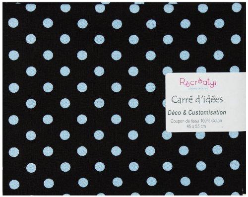 Récréatys 4604 0 21 - Scampolo di tessuto in cotone, motivo: pois blu su sfondo blu, 50 x 50 cm