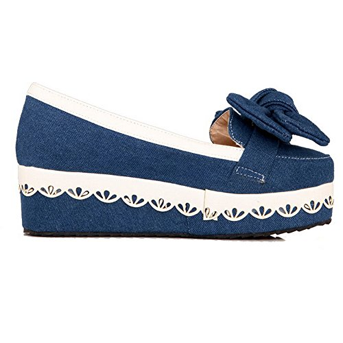 AllhqFashion Damen Mittler Absatz Gemischte Farbe Ziehen Auf Rund Zehe Pumps Schuhe Dunkelblau