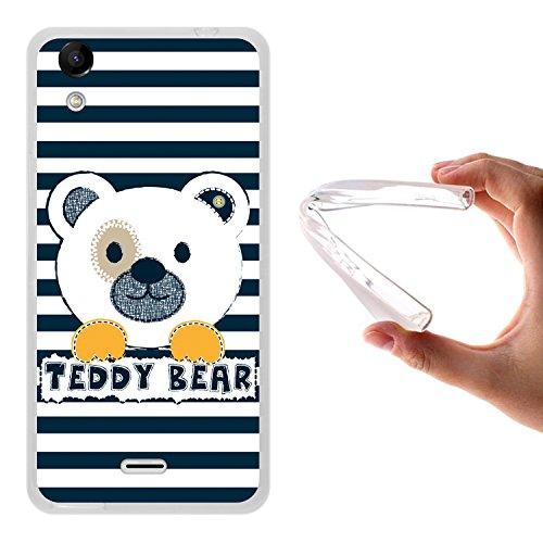 WoowCase Wiko Rainbow Up Hülle, Handyhülle Silikon für [ Wiko Rainbow Up ] Gestreifter Teddybär Handytasche Handy Cover Case Schutzhülle Flexible TPU - Transparent