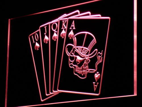 Enseigne Lumineuse i942-r Royal Flush Casino Poker Game Gift Light Sign