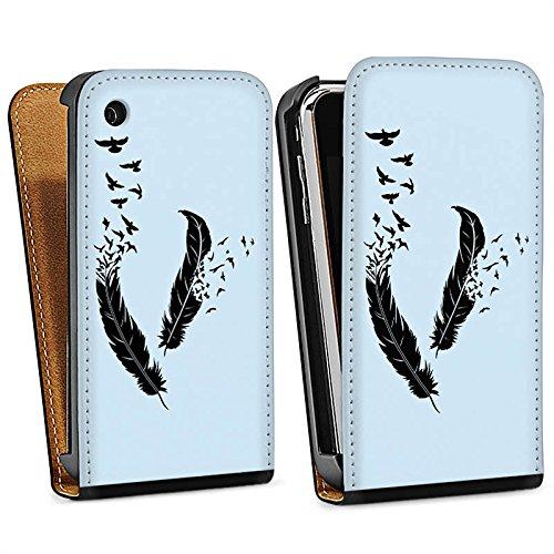 Apple iPhone 4 Housse Étui Silicone Coque Protection Ressort Oiseaux Paix liberté Sac Downflip noir