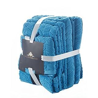 Bagno Milano Ultra Soft Plush Towels, Aqua Fibro World's Finest Natural, untreated GMO free Turkish Cotton (6 Pieces Towel Set, Blue)
