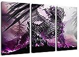 Leuchtender Drache Motiv, 3-teilig auf Leinwand (Gesamtformat: 120x80 cm), Hochwertiger Kunstdruck als Wandbild. Billiger als ein Ölbild! ACHTUNG KEIN Poster oder Plakat!