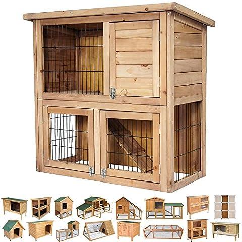 Hasenstall Hasenkäfig Kaninchenstall Tier Kaninchenkäfig Apartment Holz 91*45*87cm