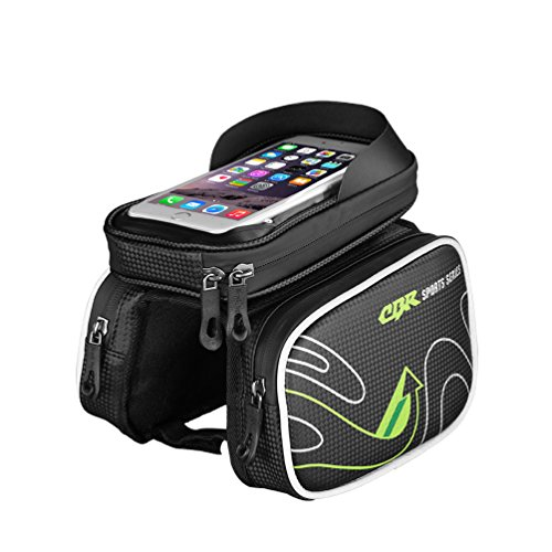 CBR Moutain Bike Oberrohrtasche Fahrradtasche Rahmentasche Handytasche 6.0 Zoll Mit Touch Screen TPU Wasserfest Einfach zu Installieren Grün