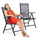 MACOShopde by MACO Möbel Gartenstühle 2er Set Alu Mesh Stoff Gewebe schwarz-schwarz 7 Positionen Klappstühle