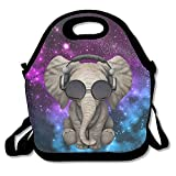 Pzeband Elephant Glasses Galaxy Lunch Tote Bag Bags Awesome Lunch Handbag Lunchbox Box for School Work Outdoor