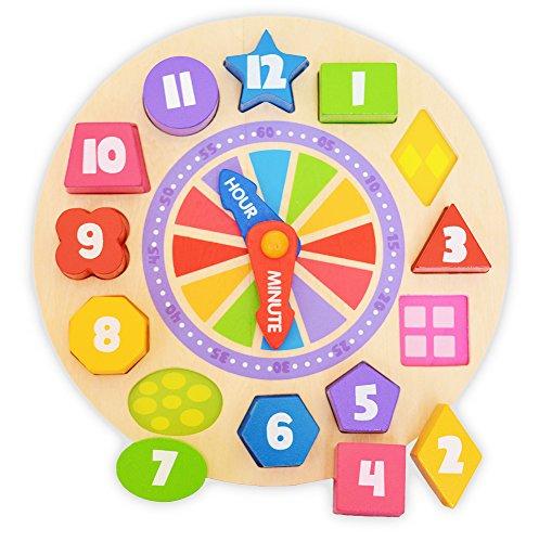 Tooky Toy - Reloj de aprendizaje con formas encajables y brillo en la oscuridad