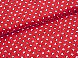 0,5m Stoff Sterne klein in rot/ weiß Motivgröße 1,0cm