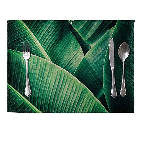 danigrefinb Green Plant Leinen Tisch-Sets Esstisch Wärmedämmung Matte Home Kitchen Decor Platzdeckchen 4Stück 9# (9 Stück Runder Esstisch Set)