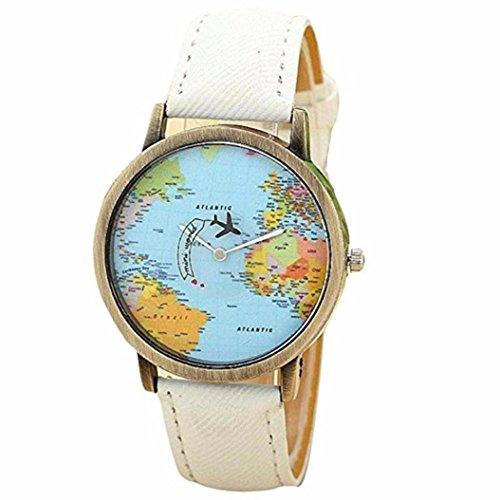 Fasching Karneval Uhren Dellin Neue globale Reise mit Dem Flugzeug Karte Frauen Kleid Uhr Denim Fabric Band (Weiß)