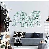 Chellonm Aufkleber Vinyl Französisch Bulldog Welpen Hunderasse Haustier Tier Wandkunst Dekor Wohnzimmer Schlafzimmer Kindergarten Diy Poster 74 * 42 Cm