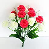 #9: Ashiyanadecors Artificial Carnation Bunch 14 Flowers White & Magenta Natural Looking for Home & Garden Décor