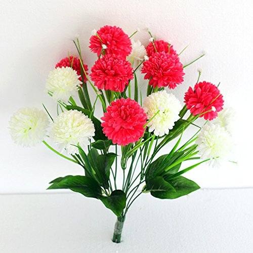 Ashiyanadecors Artificial Carnation Bunch 14 Flowers White & Magenta Natural Looking for...