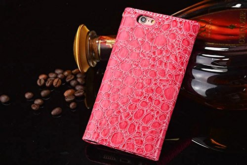 iPhone Case Cover Krokodil-Muster PU-lederner Kasten-Mappen-Kasten-Umschlag-Art-Fall-Abdeckung für IPhone 6s 6 ( Color : Coffee , Size : IPhone 6s ) Pink