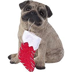 Adorno Sandicast perro carlino cervatillo con calcetín de Navidad