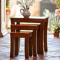 DecorNation Carissa Solid Wood Nest of Tables Set of 3 Nesting Bedside Tables - Indian Sheesham Wood Furniture