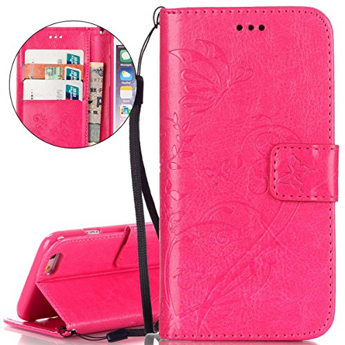 Custodia iPhone 6S, ISAKEN Custodia iPhone 6, iPhone 6 Flip Cover in Color, Elegante Fiori Pattern Design Custodia PU Pelle Protettiva Portafoglio Case Cover per Apple iPhone 6 4.7 / con Supporto di  Flower: roseo