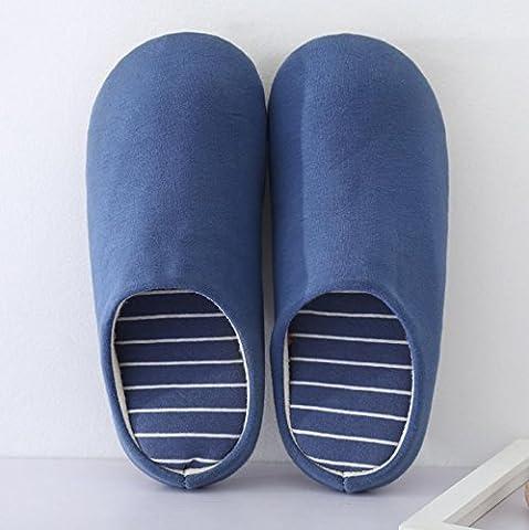 Men 's Home Chaussons d'intérieur non–Slip décontracté chaud Chaussons en coton, 1, L