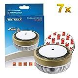 7X Nemaxx Detector de Humo M1-Mini Dorado - sensibilidad fotoeléctrica - Certificado VDS y con batería de Litio Tipo DC3V - Conforme la Norma DIN EN14