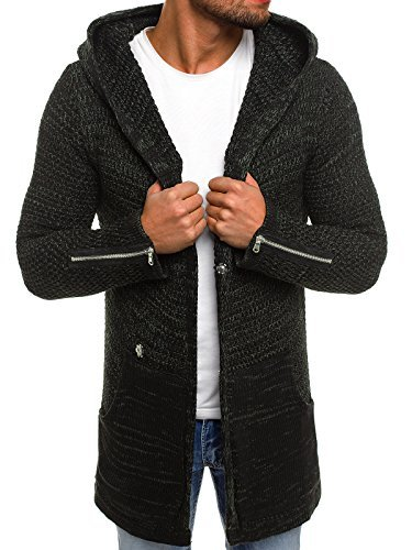 OZONEE Herren Kapuzenpullover Strickjacke Stricken Hoodie Sweatshirt Camouflage Assassin´s Sweatjacke BREEZY B9025S DUNKELGRÜN M