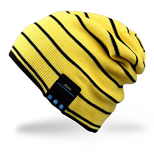 Rotibox cappello con cuffia bluetooth integrata senza fili - giallo