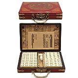 TUANMEIFADONGJI 144 PCS Mahjong de Voyage Portable Mah-Jong Archaistic Leather Box Manuel en Anglais Mahjong de Voyage Portable créatif (Modèle aléatoire de Livraison de boîtes)