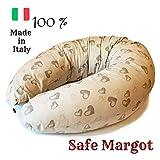 Safe Margot Cuscino Gravidanza Allattamento Multifunzione con Imbottitura Fiocchi di Fibra + Federa 100% Cotone Anallergico, Anti soffocamento, Anti reflusso Made in Italy