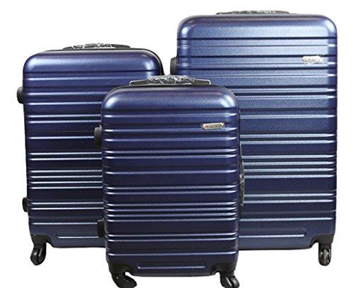 Dublin 3 set da 3 pezzi valige trolly in abs e policarbonato con 4 ruote girevoli 360° gradi colori vari (rosso) (blu darck)