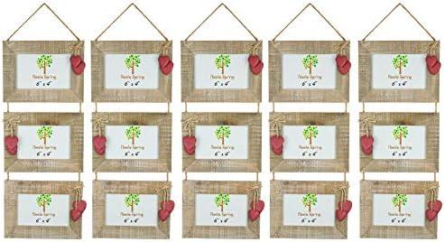 Nicola Spring Triple Legno 3 Foto appesa appesa appesa Cornice con Cuori Rossi - 6 x 4 - Confezione da 5 8204fd