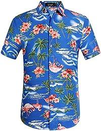 SSLR Men's Flowers Flamingos Casual Aloha Hawaiian Shirt