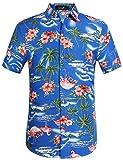 SSLR Herren Hemd Hawaiihemd 3D Gedruckt Flamingos Kurzarm Aloha Freizeit Hemd Button Down Shirt für Strand Reise (X-Large, Edelstein blau)