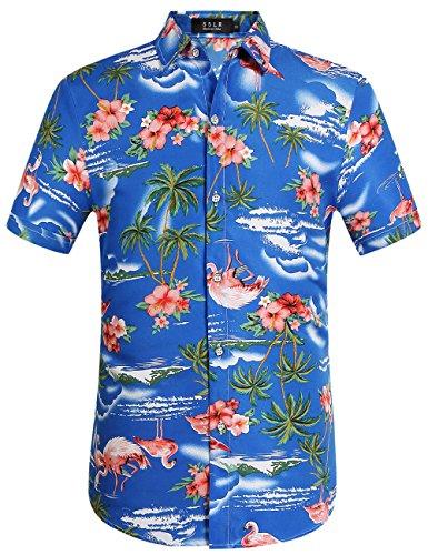 SSLR Herren Hemd Hawaiihemd 3D Gedruckt Flamingos Kurzarm Aloha Freizeit Hemd Button Down Shirt für Strand Reise (XX-Large, Edelstein blau)