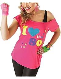 f891573f815c Verrückte Mädchen Frauen Ich Liebe die 80er Jahre T-Shirt mit Kurzen Ärmeln  Damen Retro