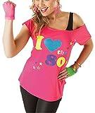 Verrückte Mädchen Frauen Ich Liebe die 80er Jahre T-Shirt mit kurzen Ärmeln Damen Retro Pop Star Tees Top EU 36-46 (EU48/50-XXL, Rosa)
