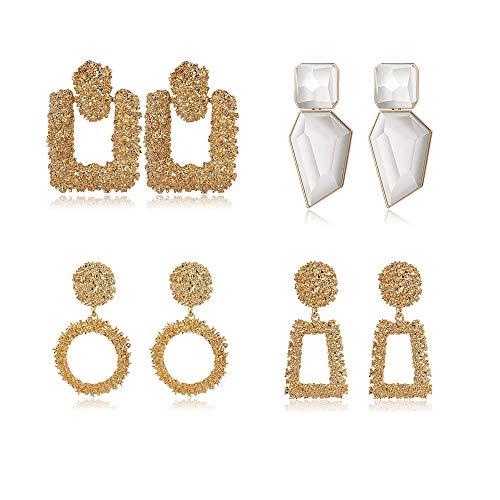 YADOCA 4 Paare Hängende Statement Ohrringe für Damen Mädchen Lang Ohrringe Große Geometrische Eckige Ohrringe