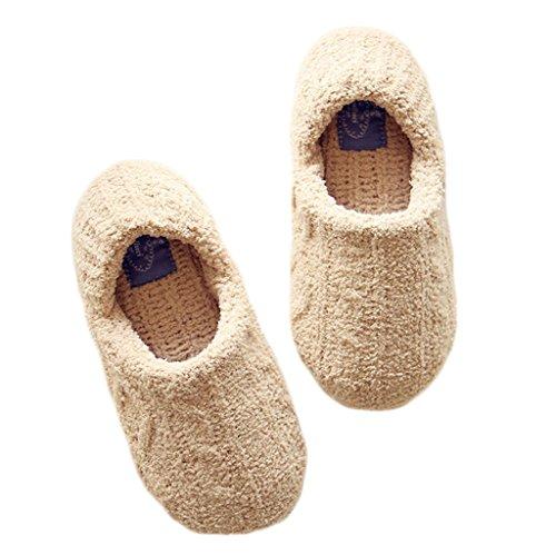 Fortuning's JDS Donne delle ragazze delle signore stile semplice solido di colore Accogliente maglieria Ciniglia pantofole avvolgere confortevole casa Calzature Cachi