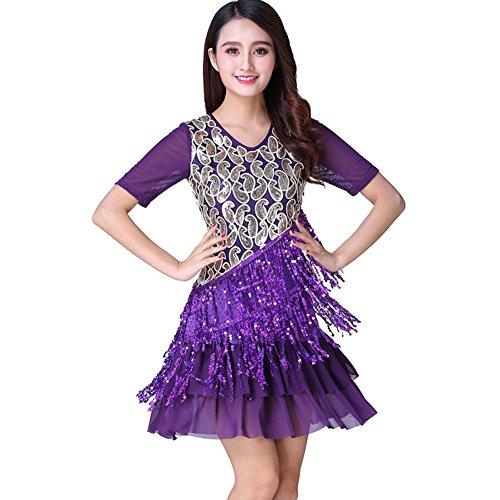 Etopfashion Damen Latin Salsa Tango Cha Cha Ballroom Wettbewerb Sequined Quasten (Kostüme Cha Cha Girl)