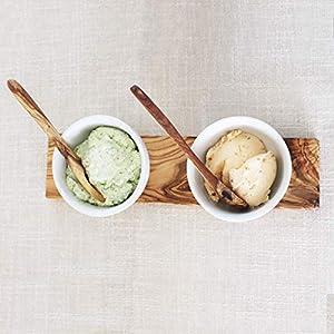 Dipschalen Set Porzellan mit Olivenholz 5tlg. | Handarbeit | Grillzubehör | perfektes Geschenk für Grill Liebhaber